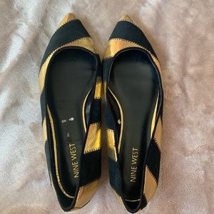 Nine West Gold Black Suede pointy toe flats 6.5